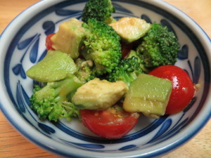 avocado salad with wasabi soy sauce