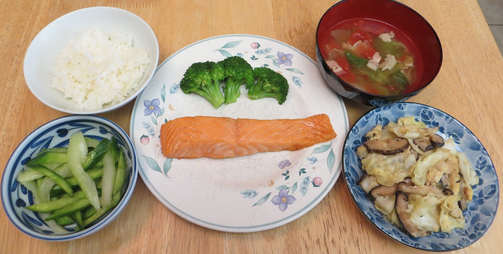 500 calories set meal grilled salted salmon