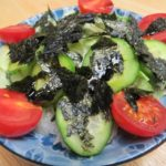 green salad with seaweed dressing